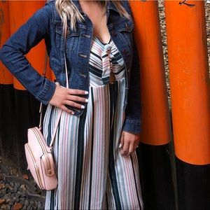 Stripped One Piece Jumpsuit